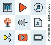 multimedia icons colored line... | Shutterstock .eps vector #1206037270
