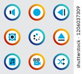 multimedia icons colored set... | Shutterstock .eps vector #1206037309