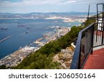 Gibraltar, United Kingdom, 1st October 2018:- View of Gibraltar harbour and town from up the Rock. Gibraltar is a British Overseas Territory located on the southern tip of Spain. - stock photo