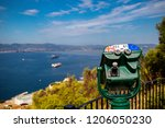 Gibraltar, United Kingdom, 1st October 2018:- A public telescope on the Rock of Gibraltar. Gibraltar is a British Overseas Territory located on the southern tip of Spain. - stock photo