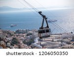 Gibraltar, United Kingdom, 1st October 2018:- The Gibraltar Cable car, carries visitors to the summit of the Rock from the town below. Gibraltar is a British Overseas Territory. - stock photo