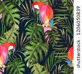 tropical seamless pattern. palm ... | Shutterstock . vector #1206050839