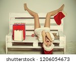 new year girl with present... | Shutterstock . vector #1206054673