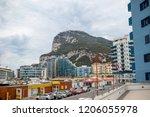 Gibraltar, United Kingdom, 30th September 2018:- The Rock of Gibraltar seen from street level. Gibraltar is a British Overseas Territory located on the southern tip of Spain. - stock photo