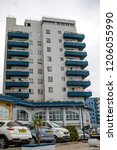 Gibraltar, United Kingdom, 30th September 2018:- Modern apartment buildings along North Mole Road in Gibraltar. Gibraltar is a British Overseas Territory located on the southern tip of Spain. - stock photo