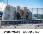 Gibraltar, United Kingdom, 3rd October 2018:- A monument to the history of Gibraltar near the airport. Gibraltar is a British Overseas Territory located on the southern tip of Spain. - stock photo