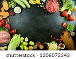 vegetables on black background | Shutterstock . vector #1206072343