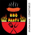 bbq logo vector  barbecue party ... | Shutterstock .eps vector #1206076813