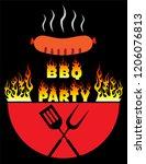 grill barbeque vintage logo... | Shutterstock .eps vector #1206076813