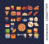 food pixel art icons. fast food ... | Shutterstock .eps vector #1206077599