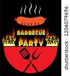 bbq party logo poster vector... | Shutterstock .eps vector #1206079696