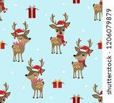 cute deer with santa clause hat ... | Shutterstock .eps vector #1206079879