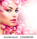 beauty girl with orchid flowers.... | Shutterstock . vector #120608200