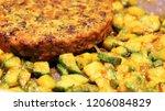 vegan burger with beans ... | Shutterstock . vector #1206084829