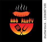 bbq party poster vector... | Shutterstock .eps vector #1206087100