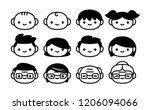 vector cartoon set of icons of... | Shutterstock .eps vector #1206094066