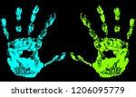 Bright Handprint On Black...