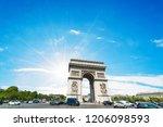 sun shining over world famous... | Shutterstock . vector #1206098593