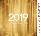 gold happy new year 2019 card ... | Shutterstock .eps vector #1206099493