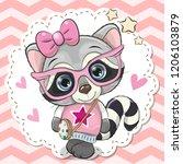 cute cartoon raccoon girl in... | Shutterstock .eps vector #1206103879