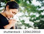 christian asian woman praying...   Shutterstock . vector #1206120010