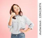 i am ok. happy business woman ... | Shutterstock . vector #1206126376