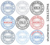 postmarks. collection of ink... | Shutterstock . vector #1206132946