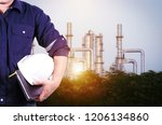 engineering with white safety...   Shutterstock . vector #1206134860