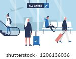 airport terminal. seating ... | Shutterstock .eps vector #1206136036