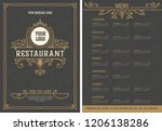 menu layout with ornamental... | Shutterstock .eps vector #1206138286