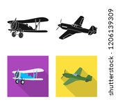 vector design of plane and... | Shutterstock .eps vector #1206139309
