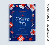 merry christmas party layout... | Shutterstock .eps vector #1206140209