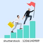 manager helping his team to... | Shutterstock . vector #1206140989