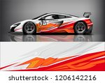 sport car racing wrap livery... | Shutterstock .eps vector #1206142216