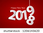 red happy new year 2019 concept ... | Shutterstock .eps vector #1206143620