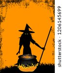 halloween spooky witch with... | Shutterstock .eps vector #1206145699