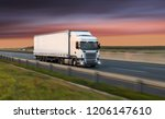 truck with container on highway ... | Shutterstock . vector #1206147610