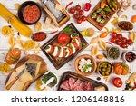 italian food ingredients on old ... | Shutterstock . vector #1206148816
