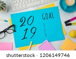 2019 goal text on colorful...   Shutterstock . vector #1206149746