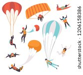 paratroopers descending with... | Shutterstock .eps vector #1206158386