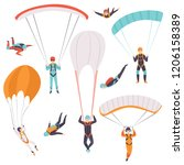 skydiving men falling through... | Shutterstock .eps vector #1206158389
