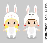 hare costume.cute kids wearing... | Shutterstock .eps vector #1206161146
