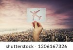 woman hand holding a white... | Shutterstock . vector #1206167326