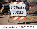 sidewalk closed standing sign... | Shutterstock . vector #1206169093