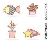 set natural plants with... | Shutterstock .eps vector #1206170716