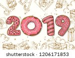 happy new year background. hand ...   Shutterstock .eps vector #1206171853
