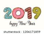 happy new year 2019. hand drawn ...   Shutterstock .eps vector #1206171859