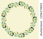 christmas hand drawn wreath... | Shutterstock .eps vector #1206174823