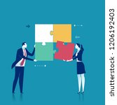 cooperation. two office persons ... | Shutterstock .eps vector #1206192403