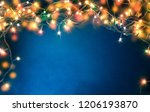colorful christmas lights on... | Shutterstock . vector #1206193870